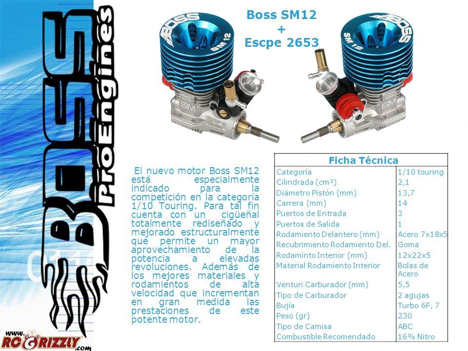 Boss SM12 + Escpe 2653 Ficha Técnica. Categoría. 1/10 touring. Cilindrada (cm³) 2,1. Diámetro Pistón (mm)