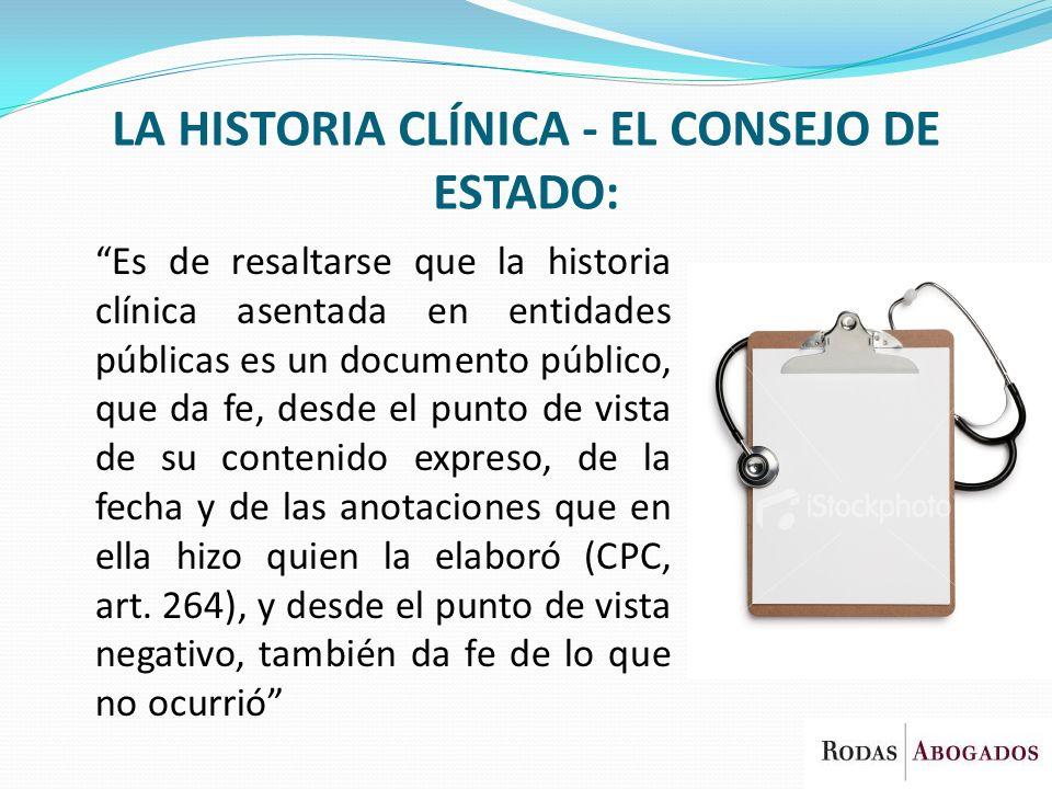 LA HISTORIA CLÍNICA - EL CONSEJO DE ESTADO: