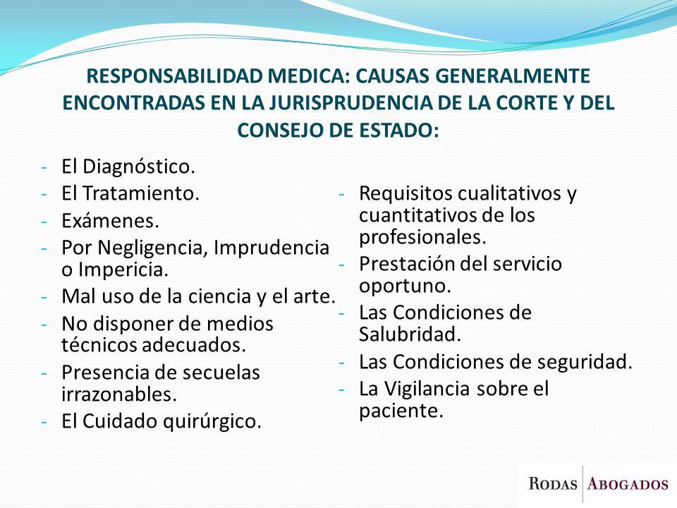 RESPONSABILIDAD MEDICA: CAUSAS GENERALMENTE ENCONTRADAS EN LA JURISPRUDENCIA DE LA CORTE Y DEL CONSEJO DE ESTADO:
