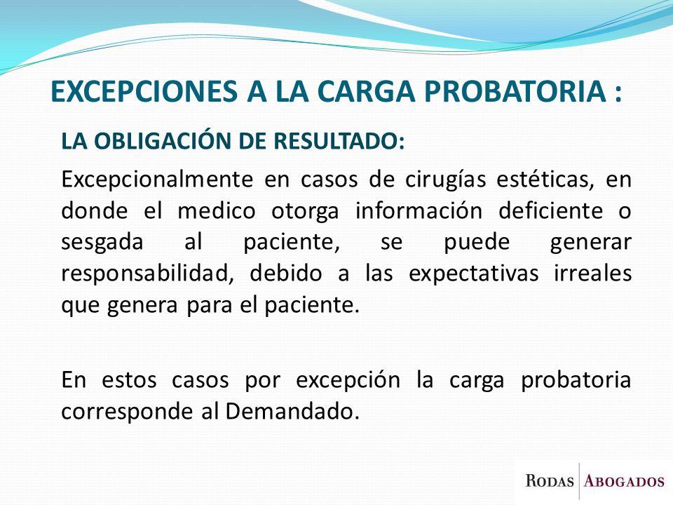 EXCEPCIONES A LA CARGA PROBATORIA :