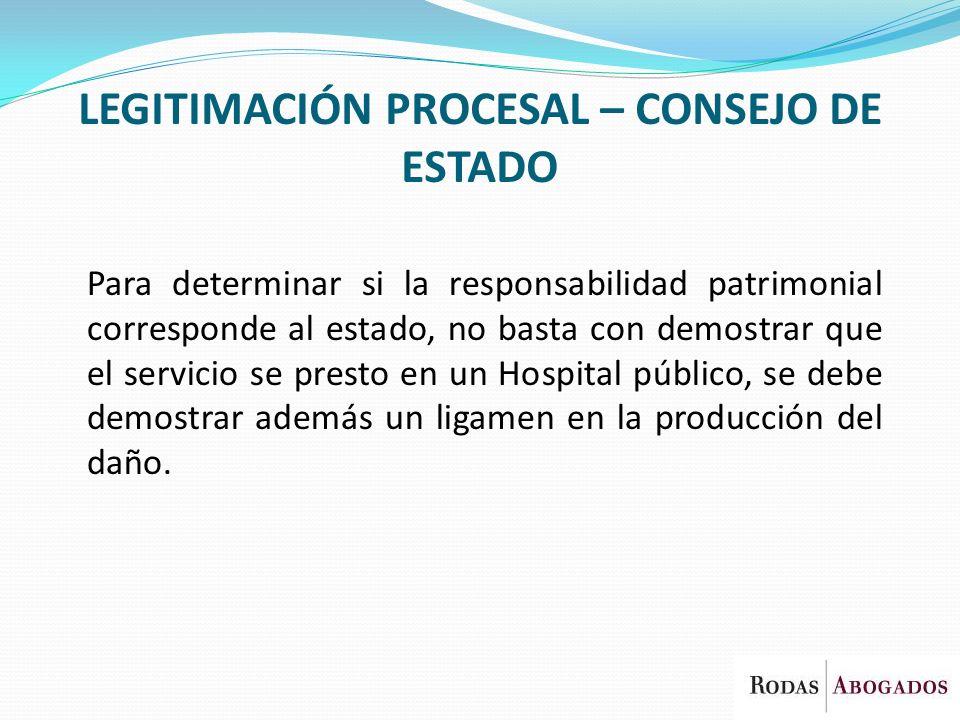 LEGITIMACIÓN PROCESAL – CONSEJO DE ESTADO