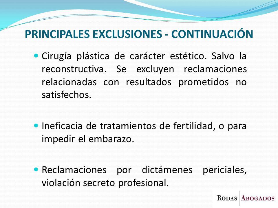 PRINCIPALES EXCLUSIONES - CONTINUACIÓN