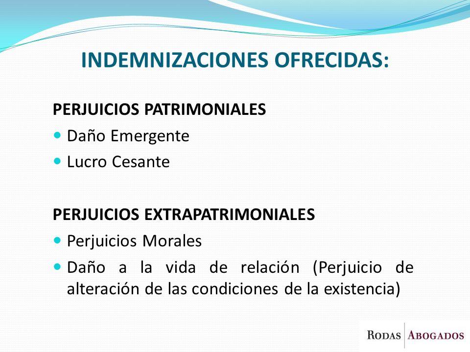 INDEMNIZACIONES OFRECIDAS: