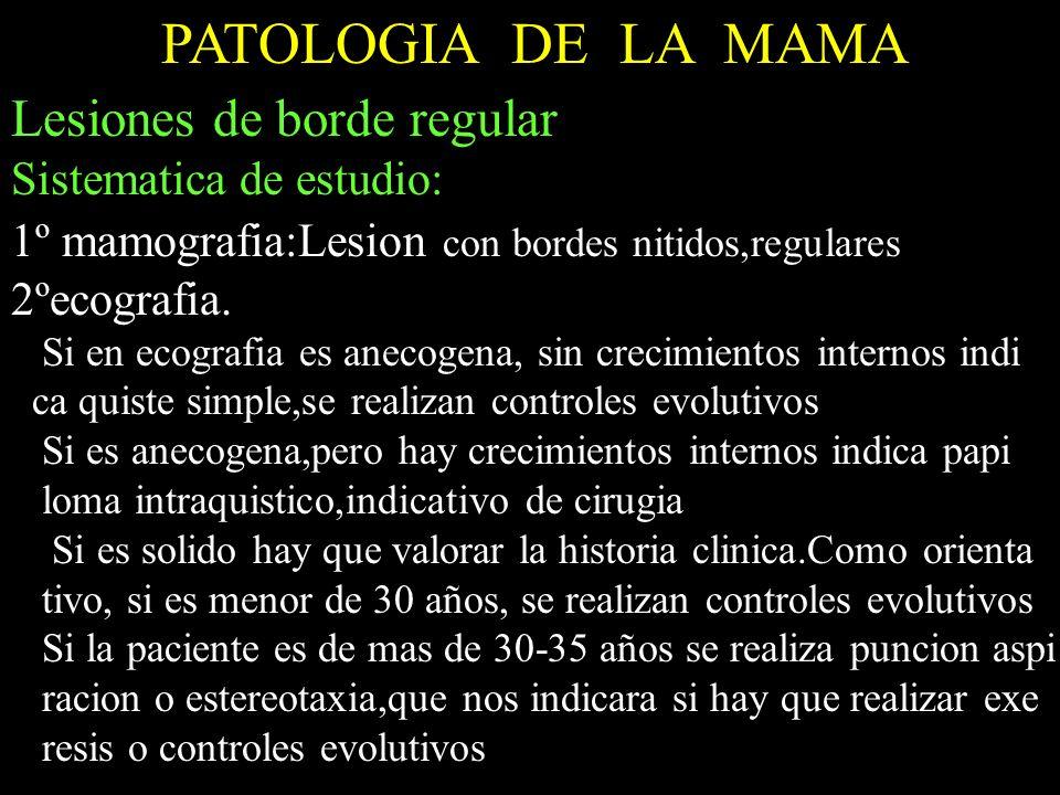 PATOLOGIA DE LA MAMA Lesiones de borde regular Sistematica de estudio:
