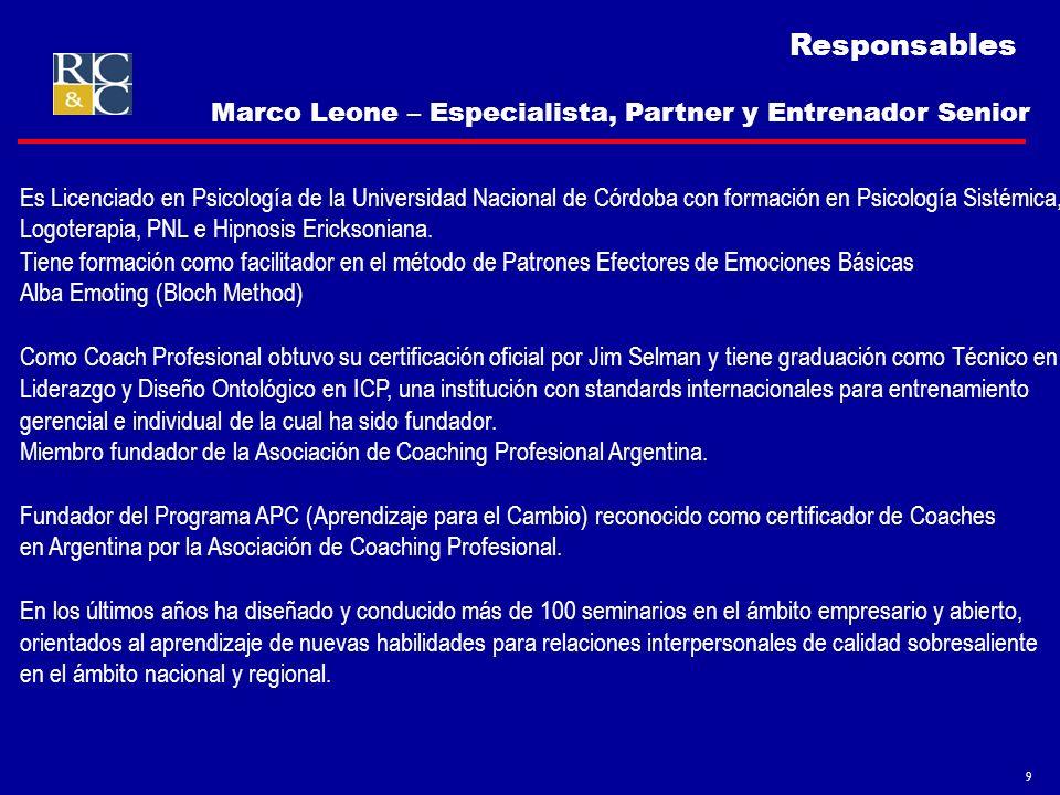 Responsables Marco Leone – Especialista, Partner y Entrenador Senior