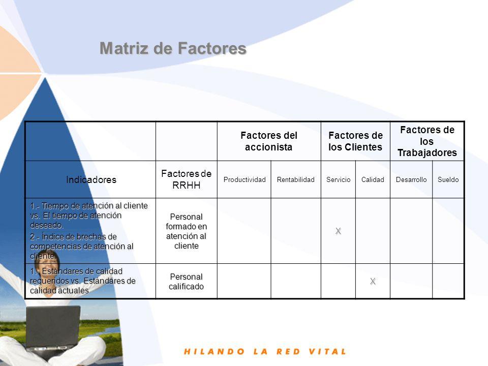 Matriz de Factores Factores del accionista Factores de los Clientes