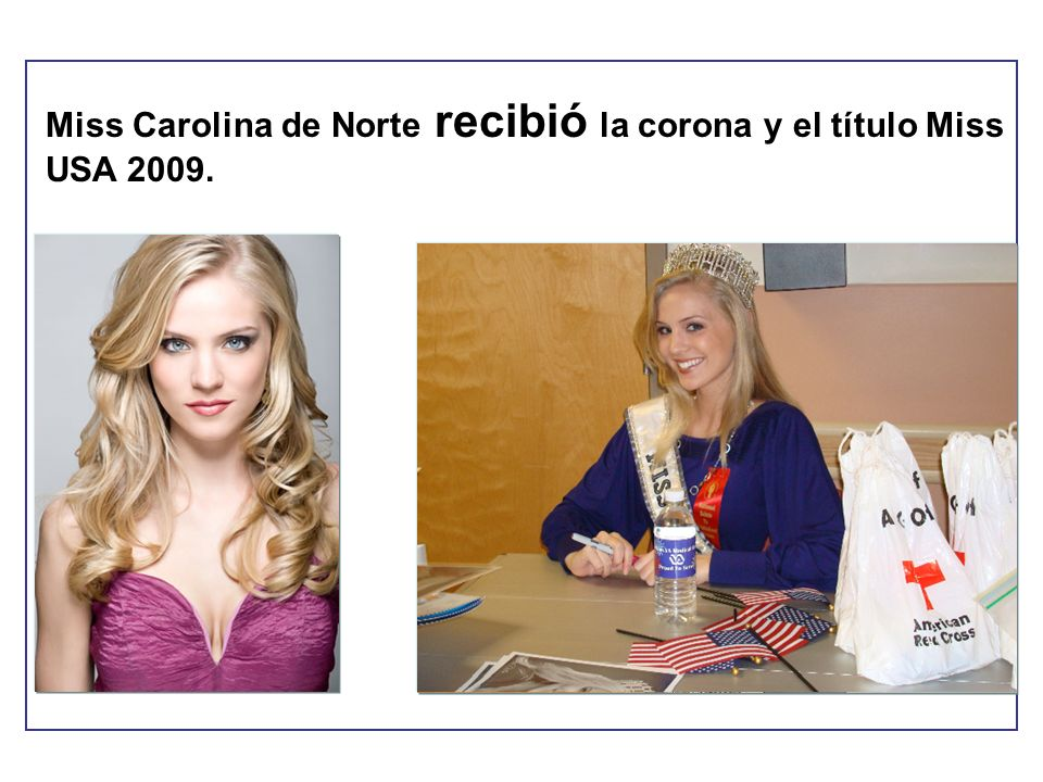 Miss Carolina de Norte recibió la corona y el título Miss USA 2009.