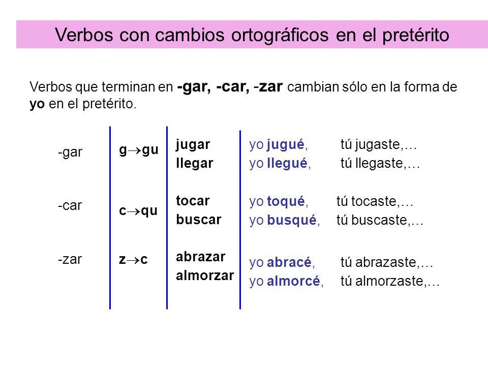 Verbos con cambios ortográficos en el pretérito
