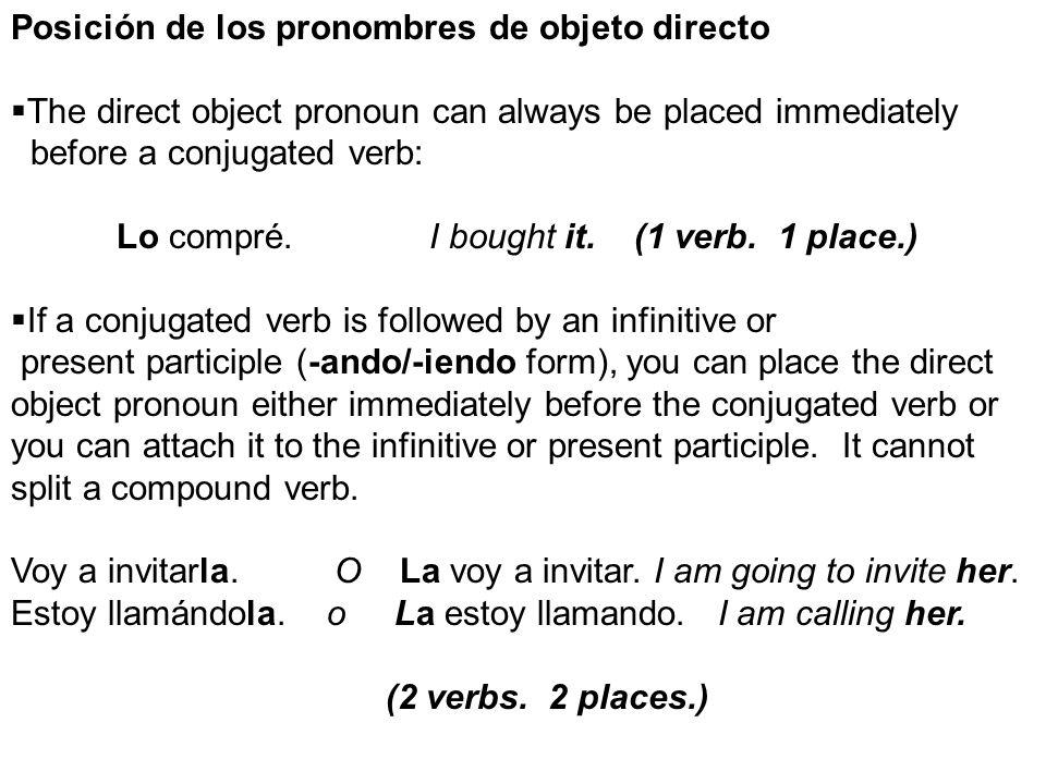 Posición de los pronombres de objeto directo