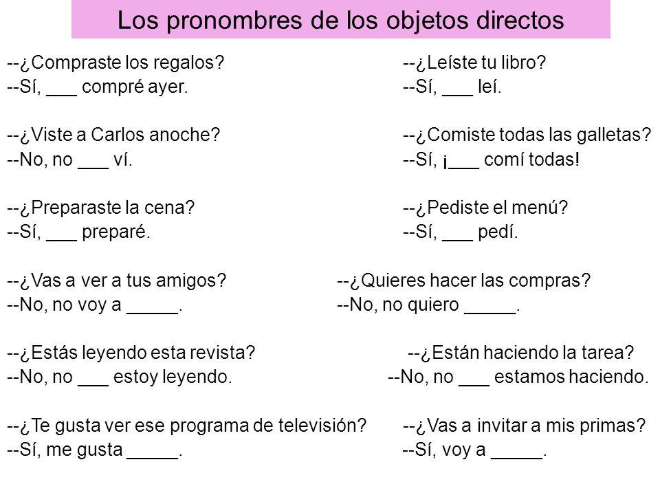 Los pronombres de los objetos directos
