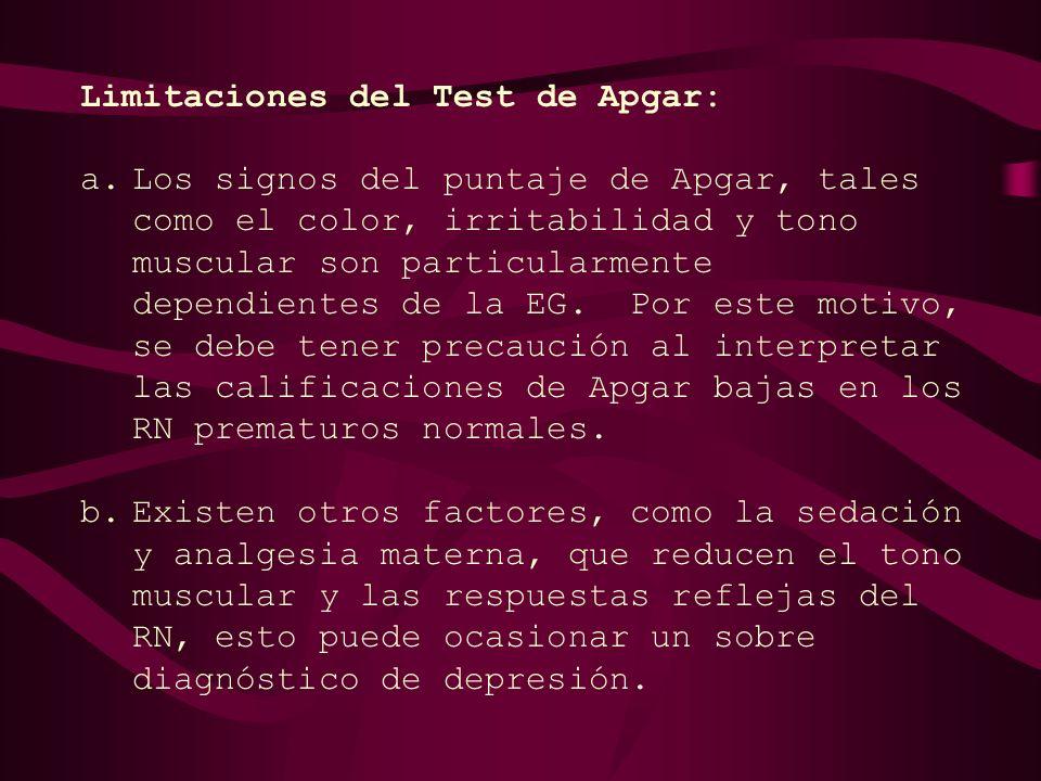 Limitaciones del Test de Apgar:
