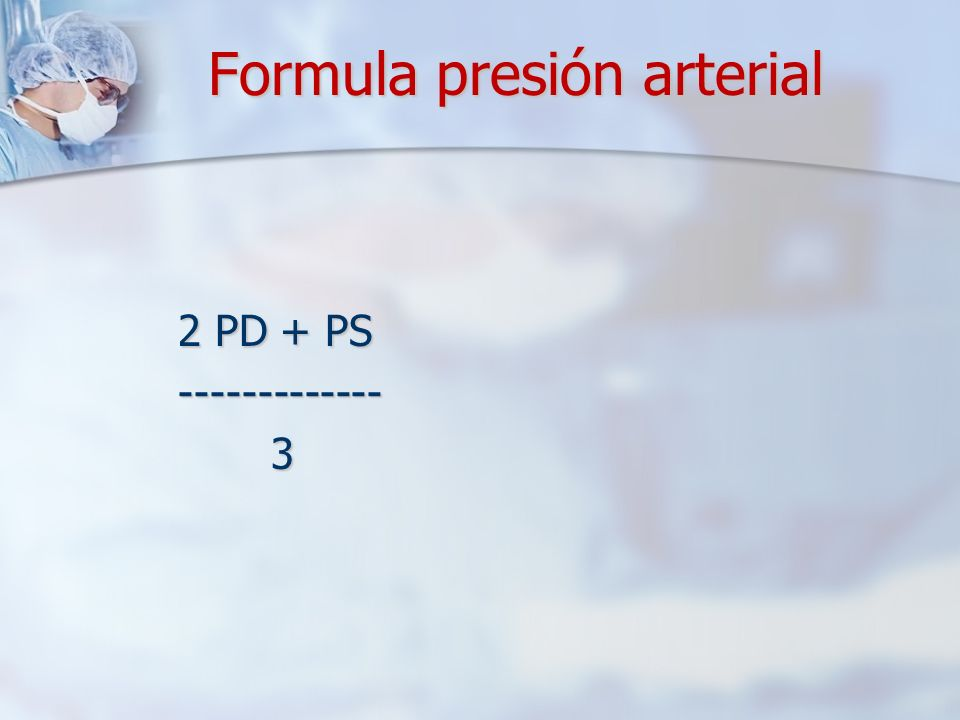 Formula presión arterial