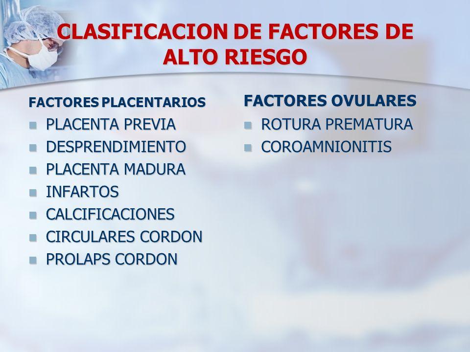 CLASIFICACION DE FACTORES DE ALTO RIESGO