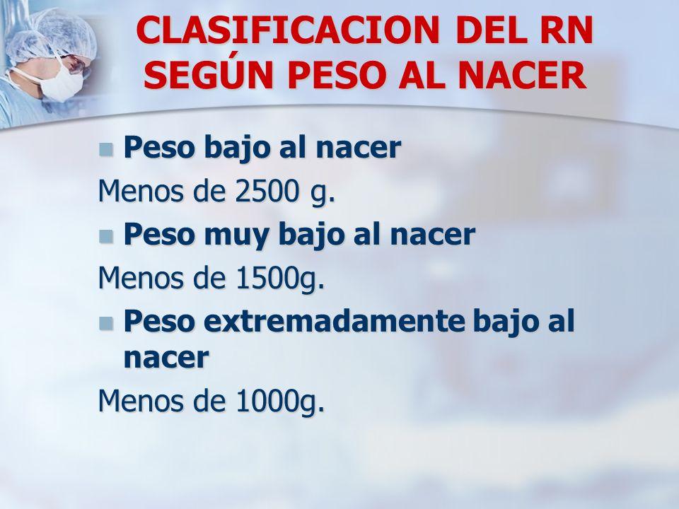 CLASIFICACION DEL RN SEGÚN PESO AL NACER