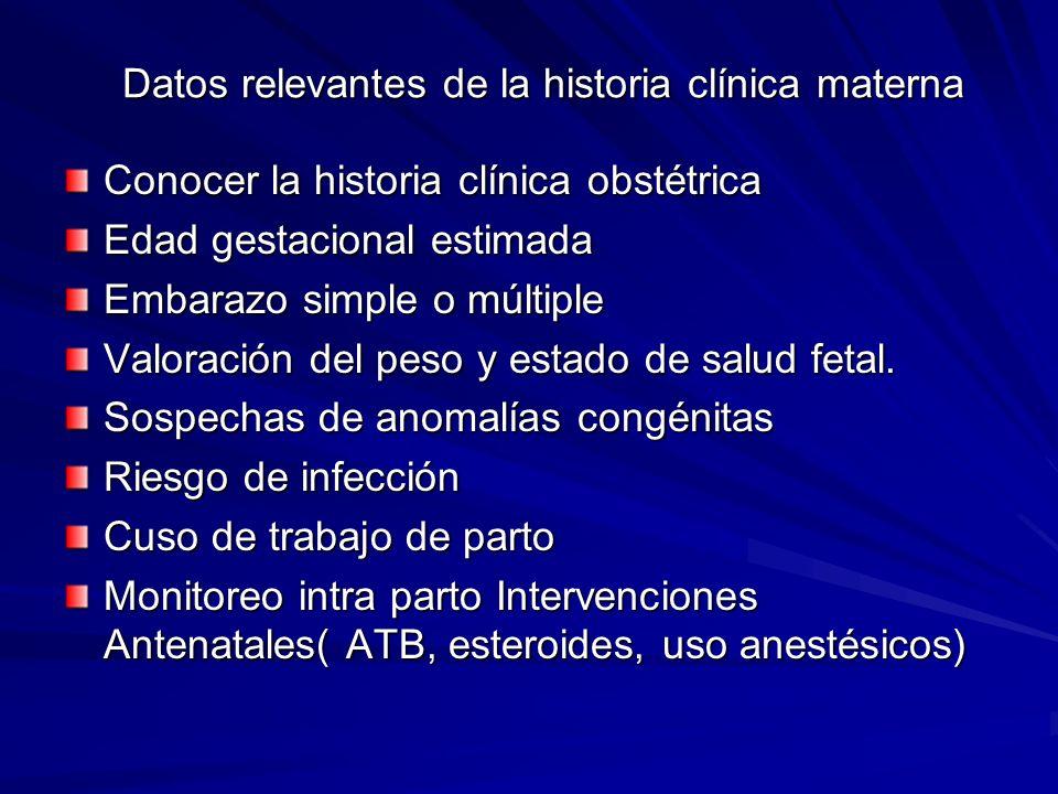 Datos relevantes de la historia clínica materna