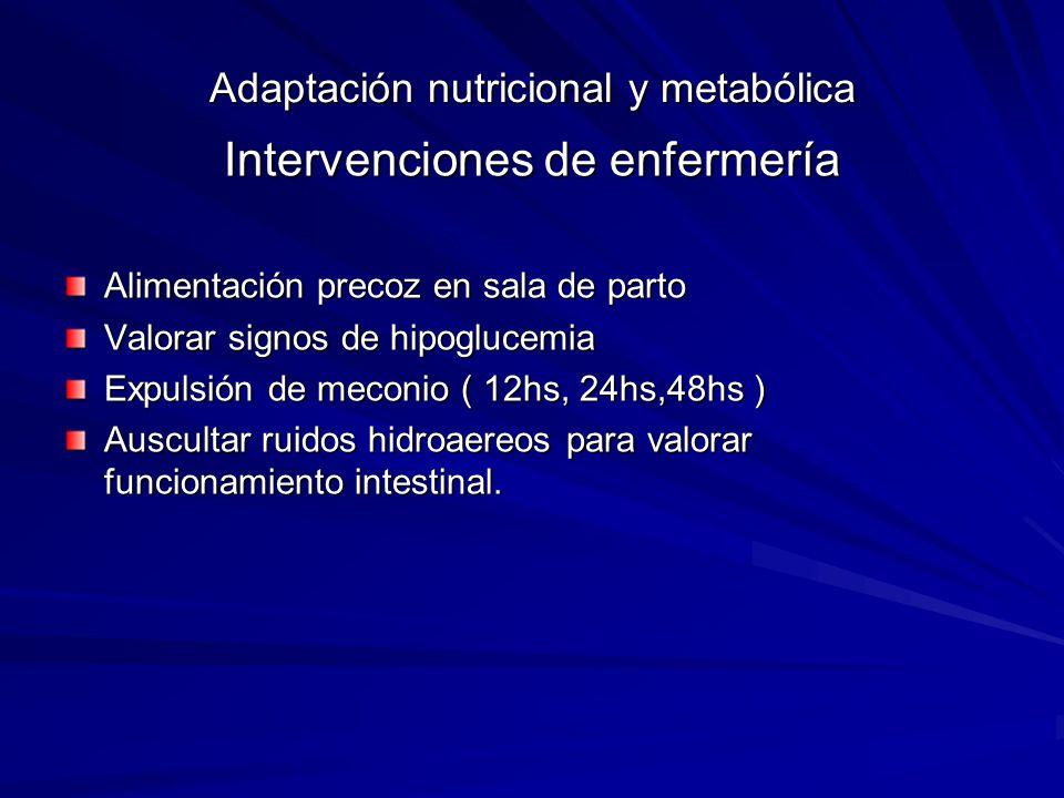 Adaptación nutricional y metabólica