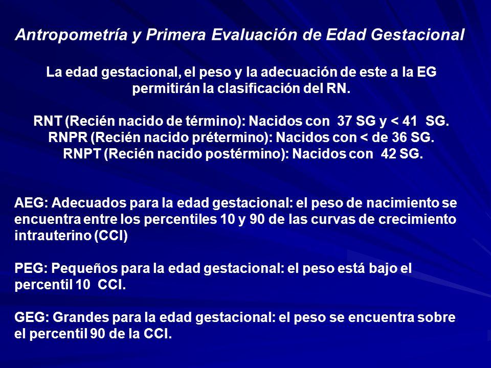 Antropometría y Primera Evaluación de Edad Gestacional