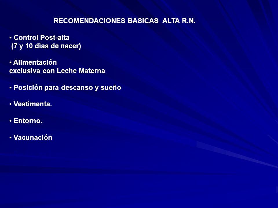 RECOMENDACIONES BASICAS ALTA R.N.
