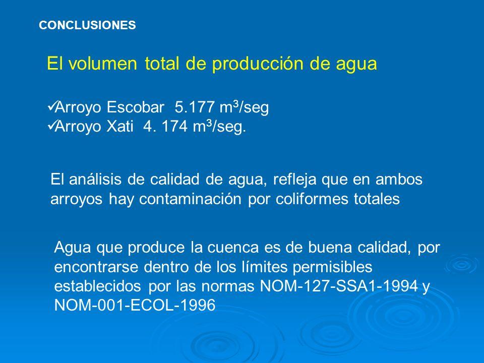 El volumen total de producción de agua