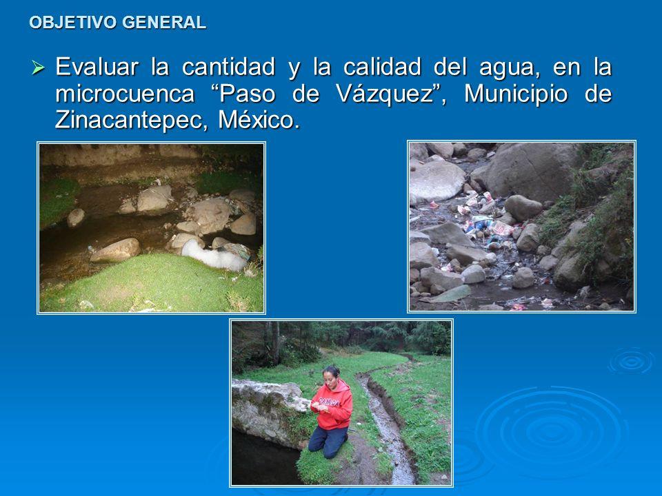 OBJETIVO GENERAL Evaluar la cantidad y la calidad del agua, en la microcuenca Paso de Vázquez , Municipio de Zinacantepec, México.