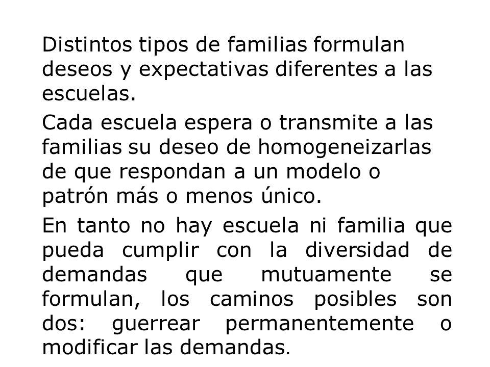 Distintos tipos de familias formulan deseos y expectativas diferentes a las escuelas.