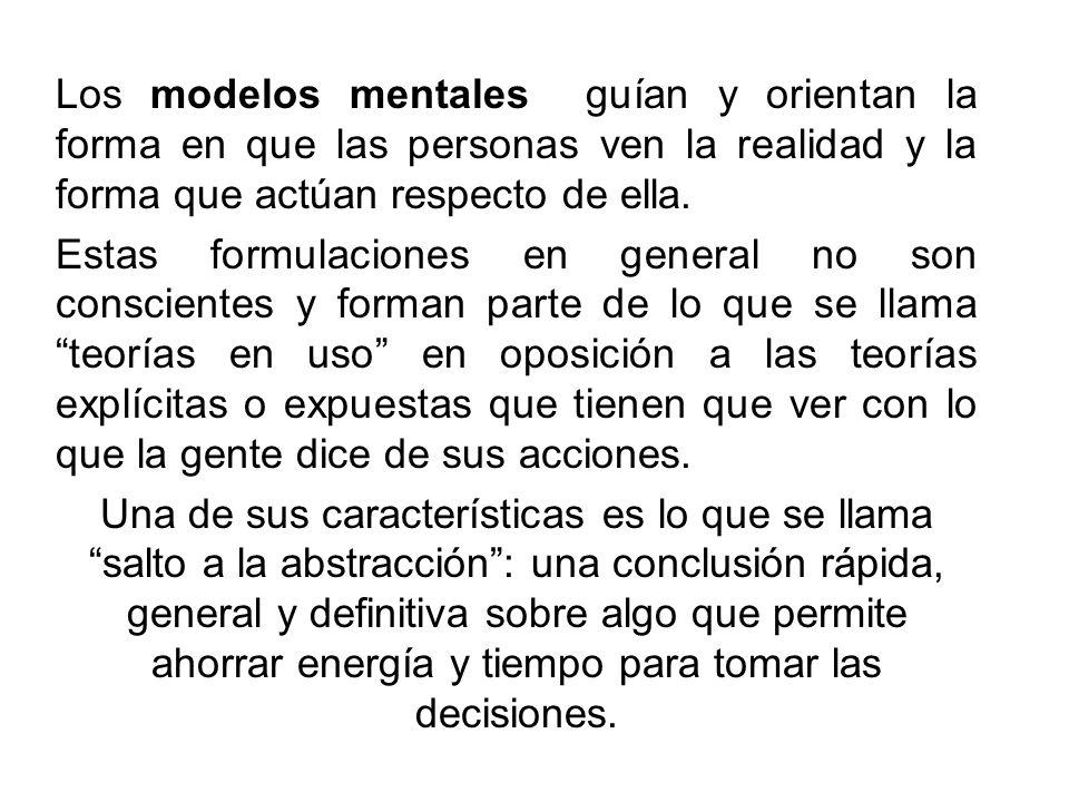 Los modelos mentales guían y orientan la forma en que las personas ven la realidad y la forma que actúan respecto de ella.