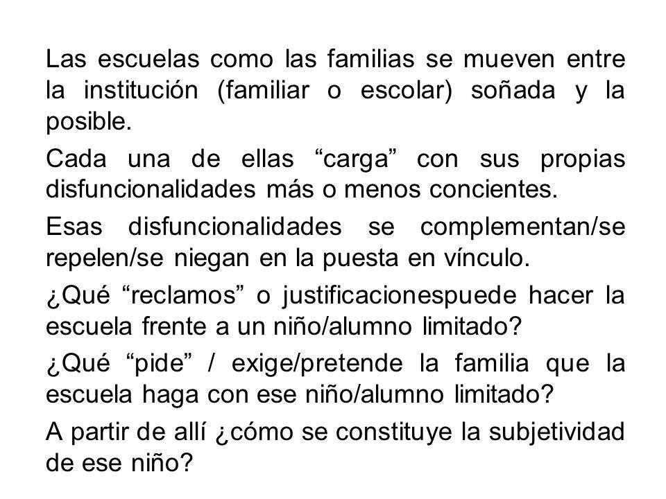 Las escuelas como las familias se mueven entre la institución (familiar o escolar) soñada y la posible.