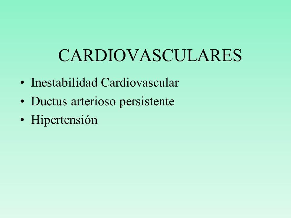 CARDIOVASCULARES Inestabilidad Cardiovascular