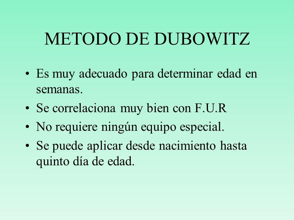 METODO DE DUBOWITZ Es muy adecuado para determinar edad en semanas.