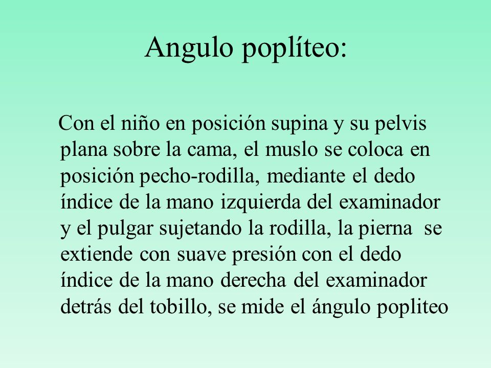 Angulo poplíteo: