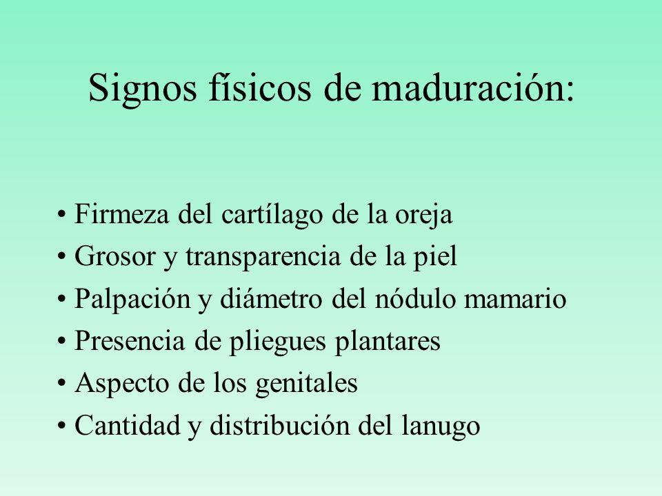 Signos físicos de maduración: