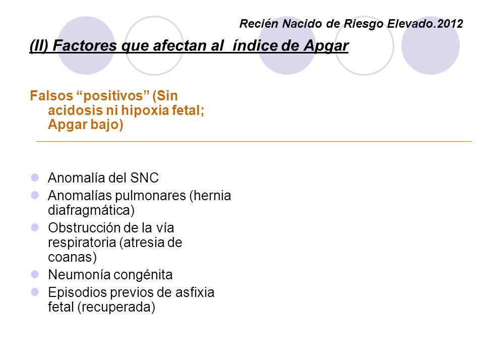 (II) Factores que afectan al índice de Apgar