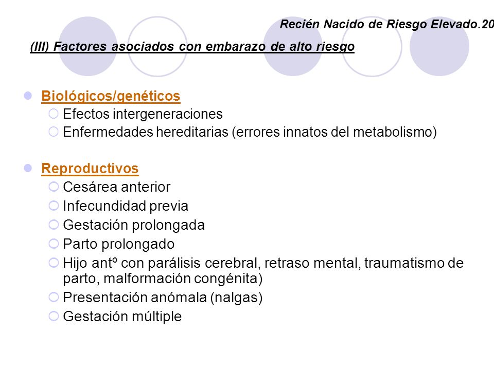 (III) Factores asociados con embarazo de alto riesgo