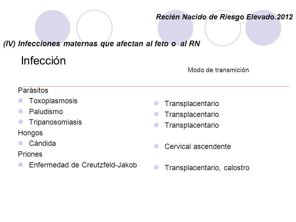 (IV) Infecciones maternas que afectan al feto o al RN
