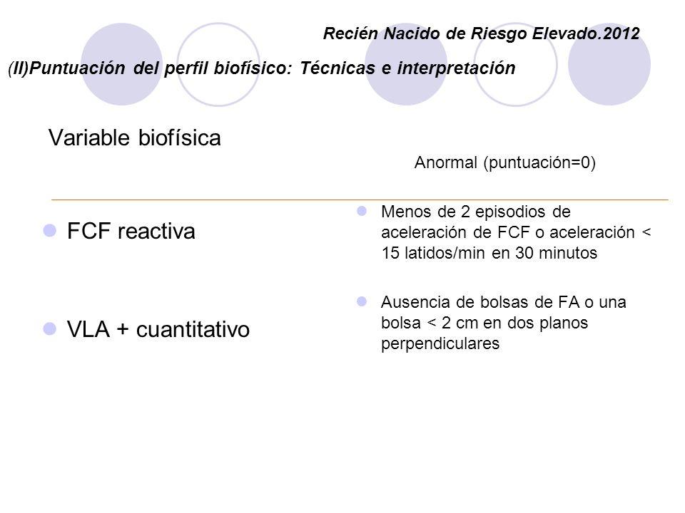 (II)Puntuación del perfil biofísico: Técnicas e interpretación