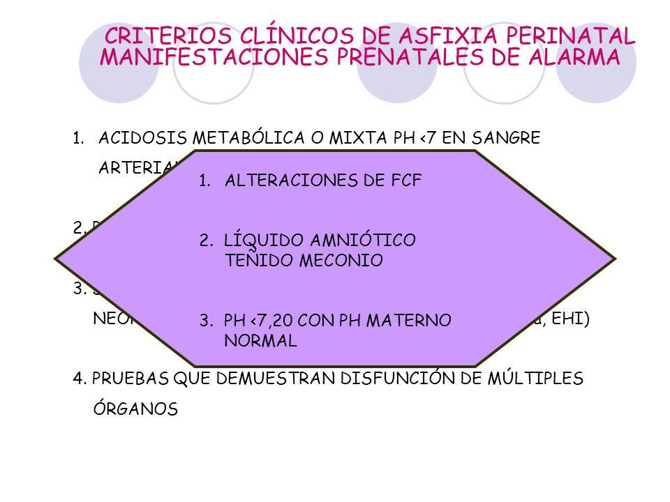 CRITERIOS CLÍNICOS DE ASFIXIA PERINATAL