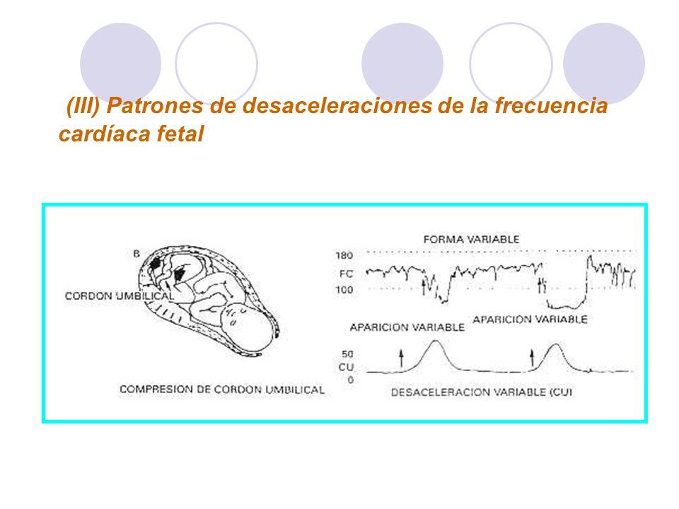 (III) Patrones de desaceleraciones de la frecuencia cardíaca fetal