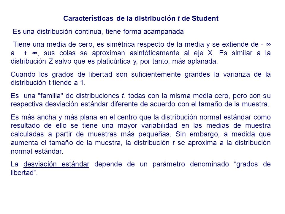 Características de la distribución t de Student