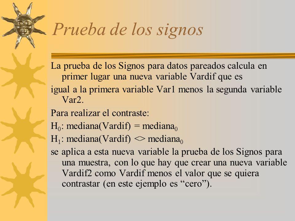 Prueba de los signos La prueba de los Signos para datos pareados calcula en primer lugar una nueva variable Vardif que es.