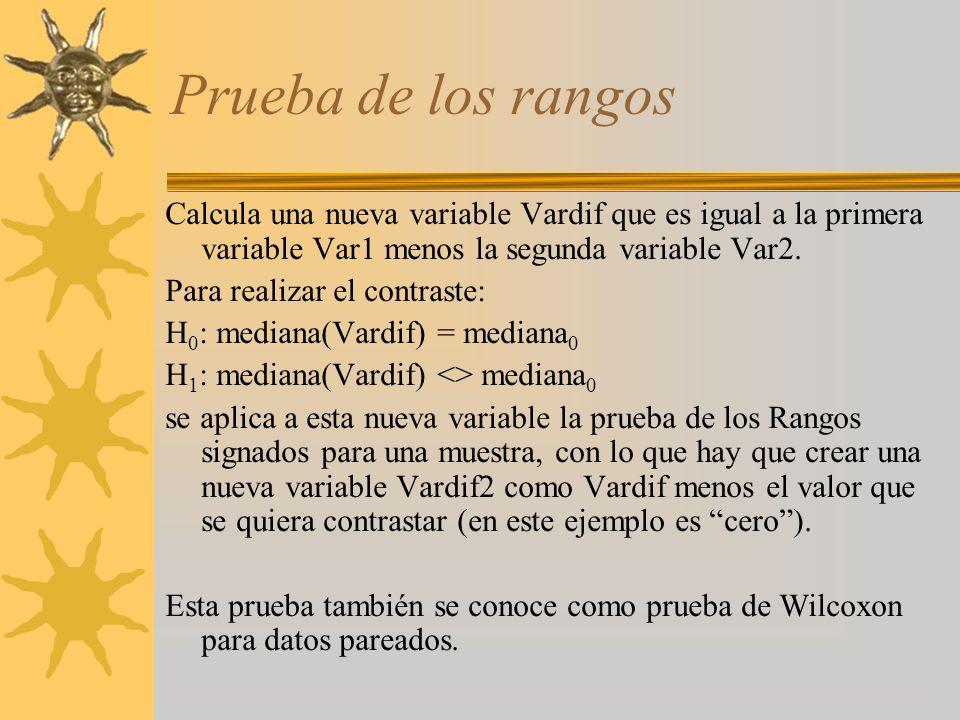 Prueba de los rangosCalcula una nueva variable Vardif que es igual a la primera variable Var1 menos la segunda variable Var2.
