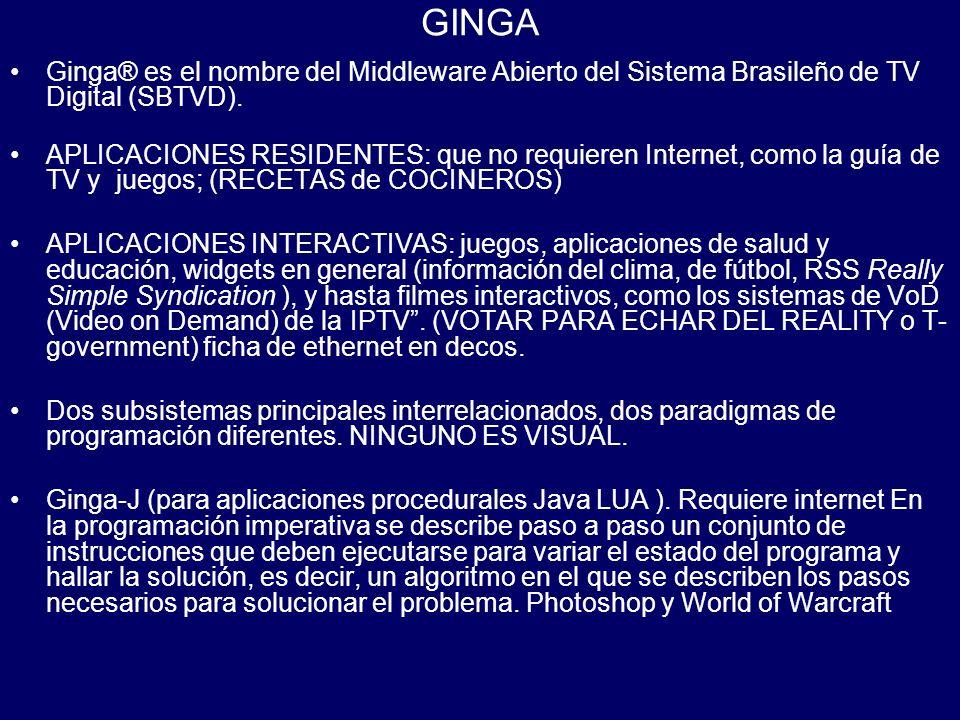 GINGA Ginga® es el nombre del Middleware Abierto del Sistema Brasileño de TV Digital (SBTVD).