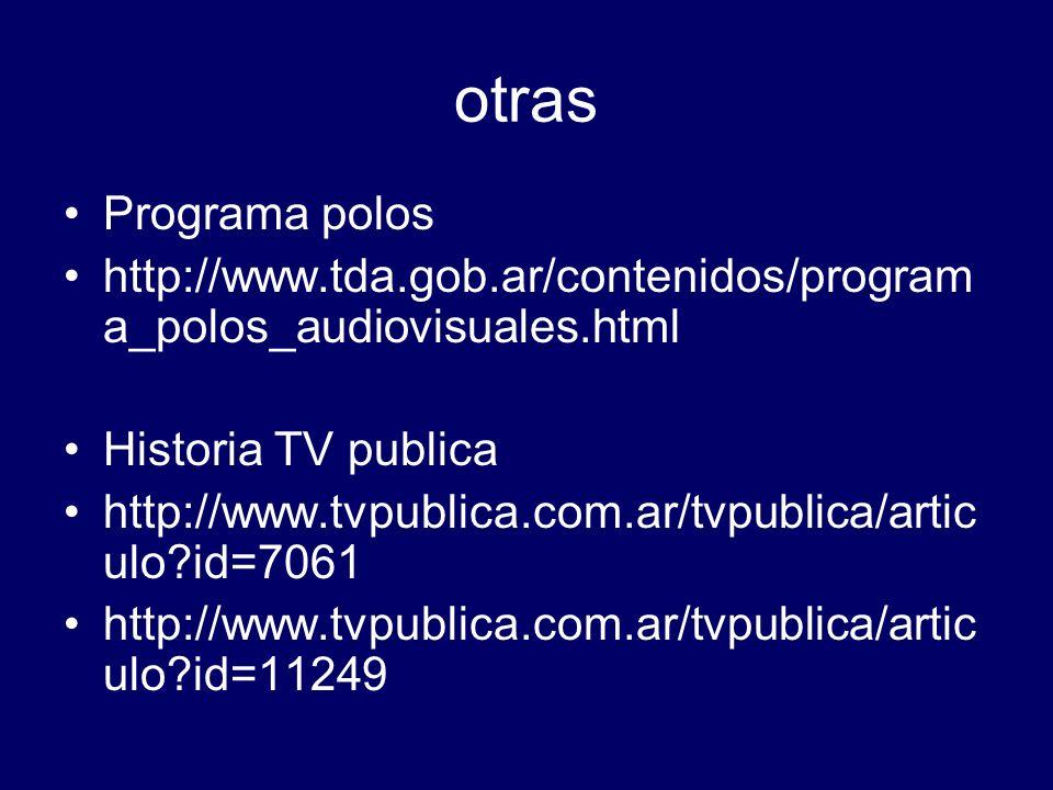 otras Programa polos. http://www.tda.gob.ar/contenidos/programa_polos_audiovisuales.html. Historia TV publica.