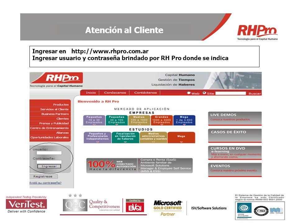 Ingresar en http://www. rhpro. com