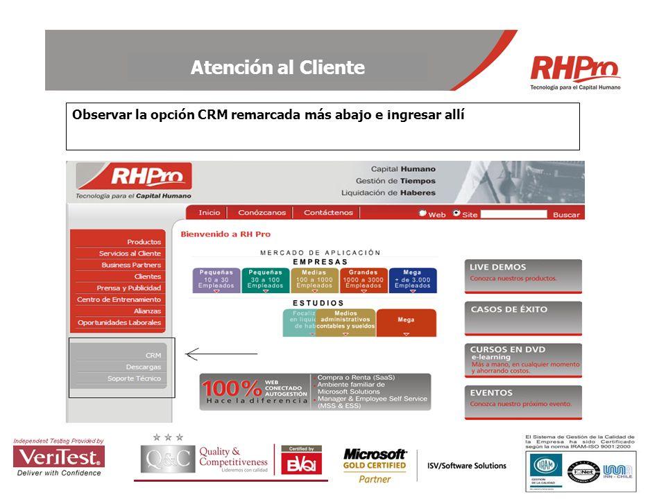 Observar la opción CRM remarcada más abajo e ingresar allí