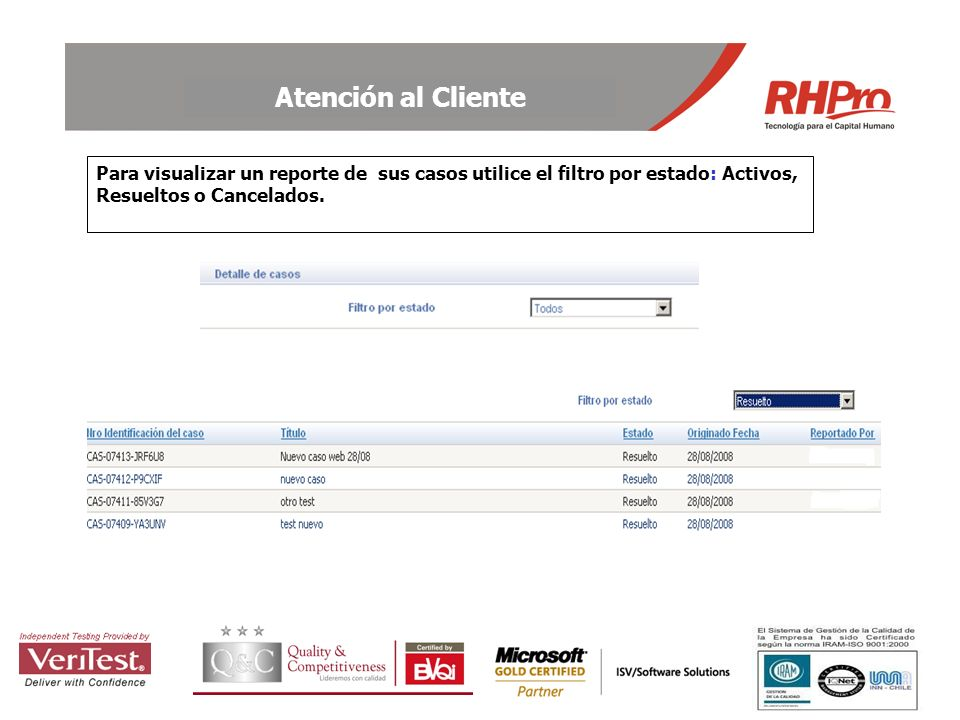 Para visualizar un reporte de sus casos utilice el filtro por estado: Activos, Resueltos o Cancelados.