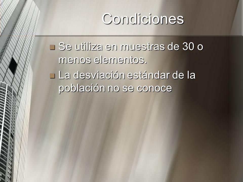 Condiciones Se utiliza en muestras de 30 o menos elementos.