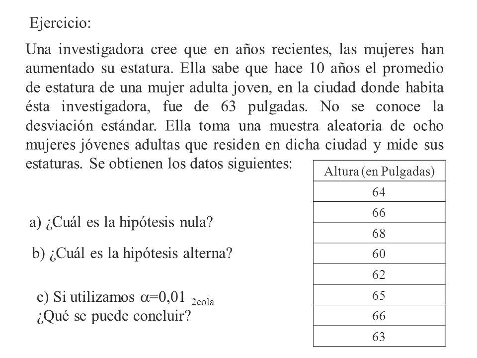 a) ¿Cuál es la hipótesis nula
