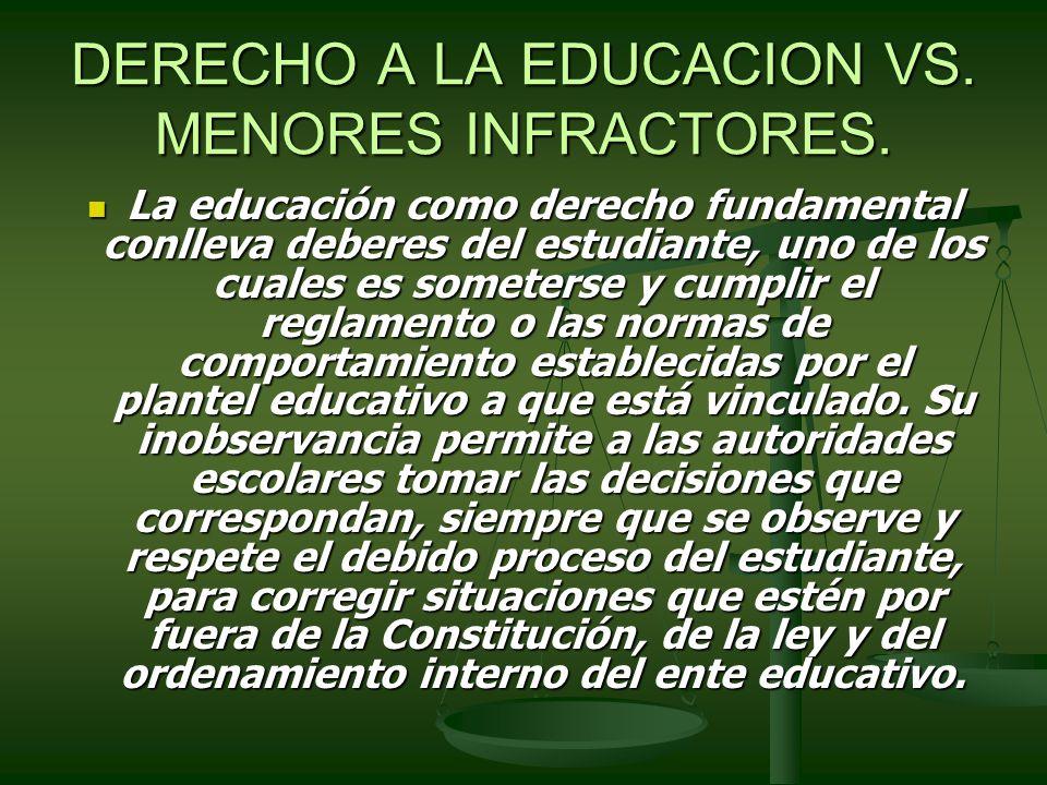 DERECHO A LA EDUCACION VS. MENORES INFRACTORES.