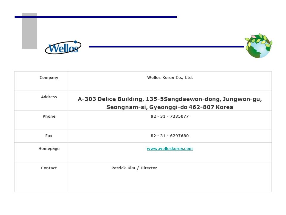 CompanyWellos Korea Co., Ltd. Address.