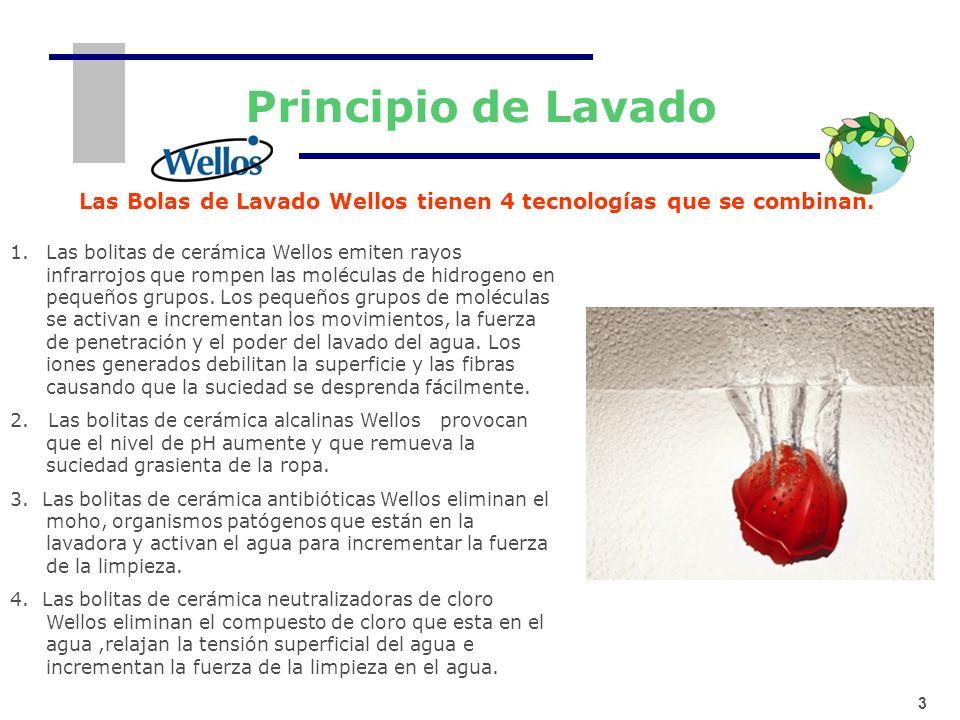 Las Bolas de Lavado Wellos tienen 4 tecnologías que se combinan.